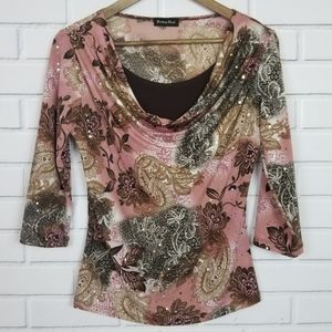 Brittany Black Pink Brown Floral Sequence Top
